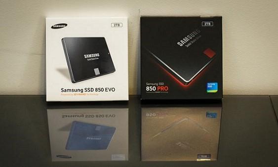 Samsung 2 TB SSD 850 Pro ve SSD 850 Evo modelleri